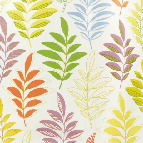 Tissu toile cirée Rameaux - multi x 10cm