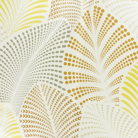Tissu toile cirée Feuillage - taupe x 10cm