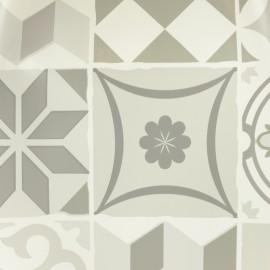 ♥ Coupon 20 cm X 140 cm ♥ Tissu toile cirée Bulgomme Carreaux de ciment - gris
