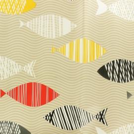 Oilcloth fabric - Beige Océane x 10cm