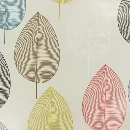 Tissu toile cirée Feuille Nordique - beige x 10cm