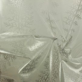 15 gauge clear vinyl fabric - silver Fern x 50cm
