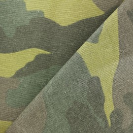 Matte coated Polycotton fabric - Green camouflage x 10cm