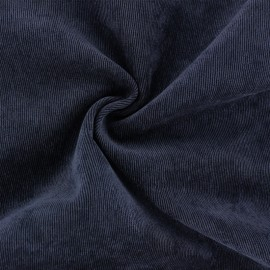 Ribbed velvet fabric - Midnight blue Billie x 10cm