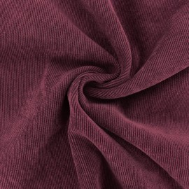 Ribbed velvet fabric - Eggplant purple Billie x 10cm