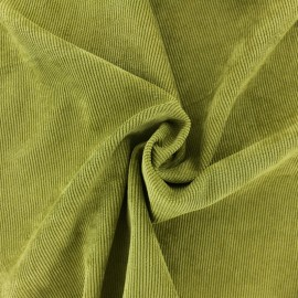 Ribbed velvet fabric - Khaki green Billie x 10cm