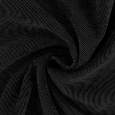 Ribbed velvet fabric - Black Billie x 10cm
