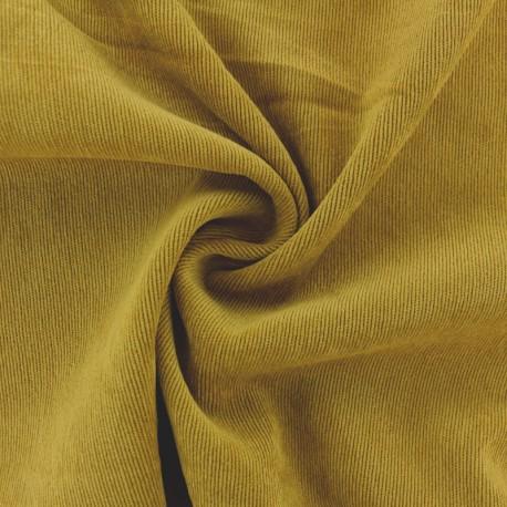 Ribbed velvet fabric - Ochre yellow Billie x 10cm
