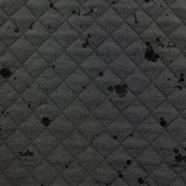 Quilted jersey fabric single-sided Diamond - Mottled Dark Grey x 10cm
