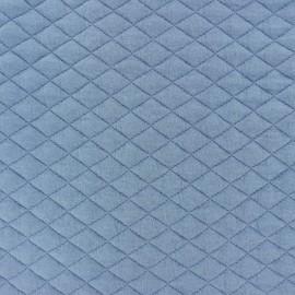 Tissu matelassé simple face losanges - Bleu x10cm