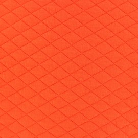 Tissu matelassé simple face losanges - Orange vif x10cm