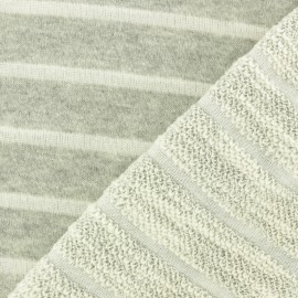 Striped French Terry fabric - off-white Malo x 10cm