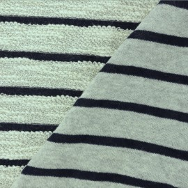 Striped French Terry fabric - Navy blue Malo x 10cm