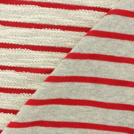 Striped French Terry fabric - red Malo x 10cm