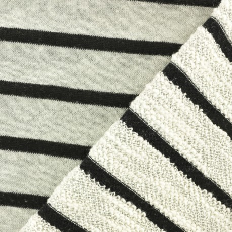 Striped French Terry fabric - blue Malo x 10cm