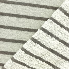 Striped French Terry fabric - Taupe grey Malo x 10cm