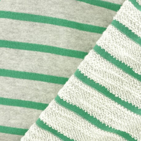 Striped French Terry fabric - Green Malo x 10cm