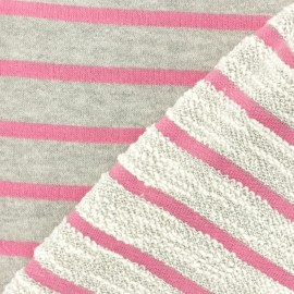 Striped French Terry fabric - pink Malo x 10cm