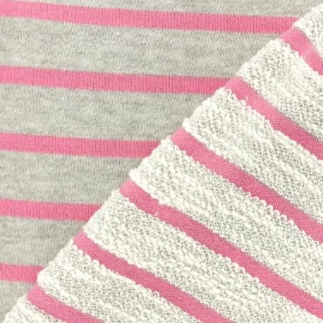 Tissu coton sweat léger Malo - rose x 10cm