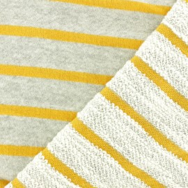 Striped French Terry fabric - yellow x 10cm