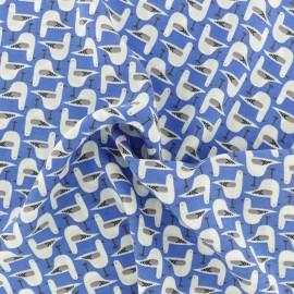 Tissu crêpe Georgette Mouette - bleu x 10cm