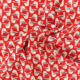 Georgette Crêpe Fabric - red Seagull x 10cm