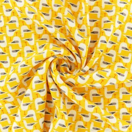 Georgette Crêpe Fabric - yellow Seagull x 10cm