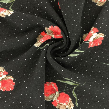 Tissu crêpe Bellinda - noir x 10cm