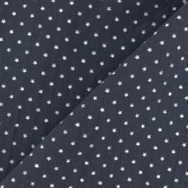 Tissu coton popeline Mini étoile - bleu marine/blanc x 10cm