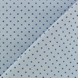 Tissu coton popeline Mini étoile - bleu ciel/bleu x 10cm
