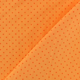 Poplin Cotton fabric -Tangerine/Orange Mini star x 10cm