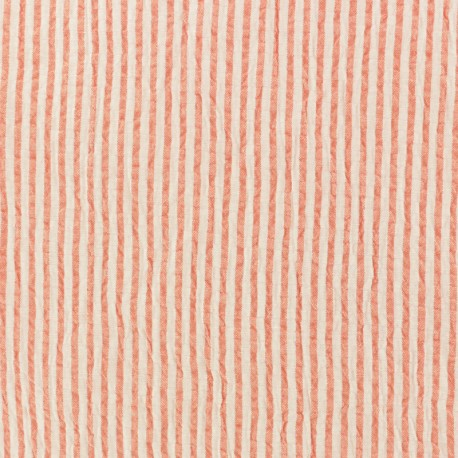 Striped Seersucker fabric - coral x 10cm