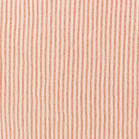 Tissu Seersucker rayé - corail x 10cm