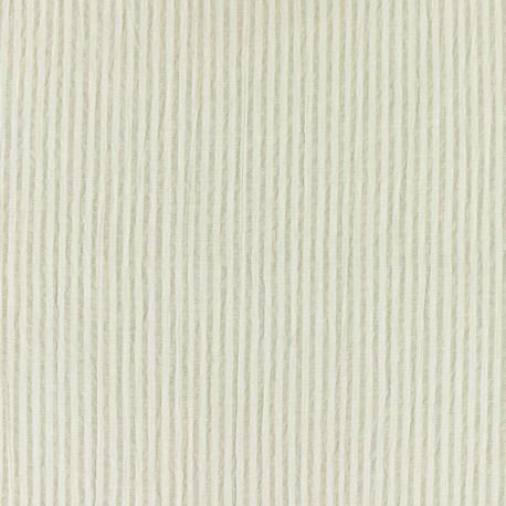 Striped Seersucker fabric - beige x 10cm