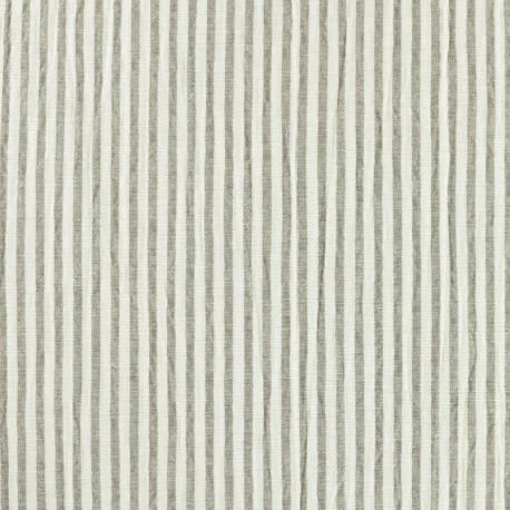 Striped Seersucker fabric - taupe x 10cm