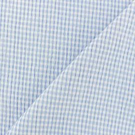 Tissu Seersucker petit vichy élasthanne - bleu x 10cm