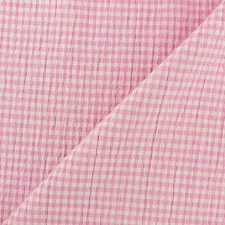 Elastane Seersucker fabric - blue Little gingham x 10cm