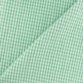 Elastane Seersucker fabric - green Little gingham x 10cm