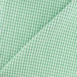 Tissu Seersucker petit vichy élasthanne - vert x 10cm