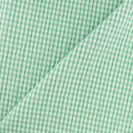 Elastane Seersucker fabric - green Little gingham x 10cm