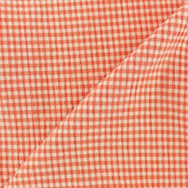 Elastane Seersucker fabric - orange Little gingham x 10cm