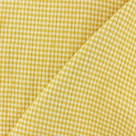 Elastane Seersucker fabric - yellow Little gingham x 10cm