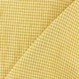 Tissu Seersucker petit vichy élasthanne - jaune x 10cm