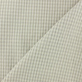 Elastane Seersucker fabric - beige Little gingham x 10cm