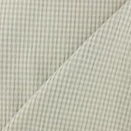 Tissu Seersucker petit vichy élasthanne - beige x 10cm
