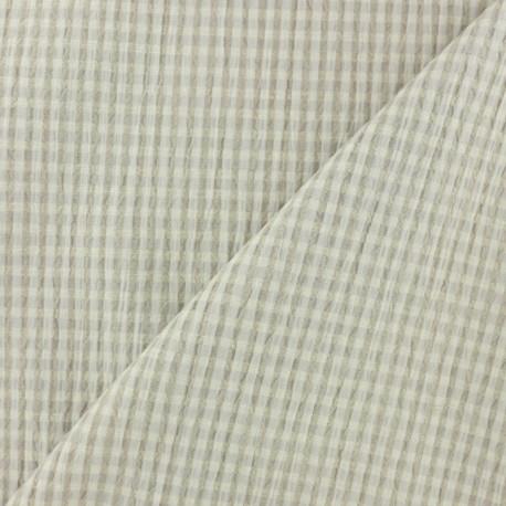 Elastane Seersucker fabric - beige Little gingham x 10cm