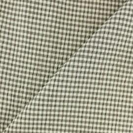 Tissu Seersucker petit vichy élasthanne - marron x 10cm