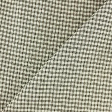 Elastane Seersucker fabric - brown Little gingham x 10cm