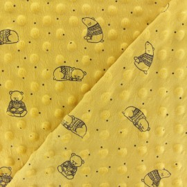 Tissu Velours Minkee doux relief à pois Winter Teddy- jaune moutarde x 10cm