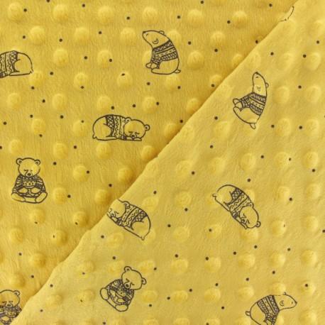 Tissu Velours Minkee doux relief à pois Winter Teddy- jaune moutarde x 10cm